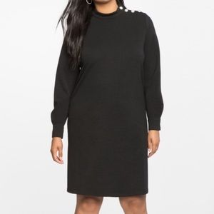 Eloquii black pearl button dress 22 new